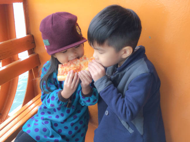 sharing a pizza